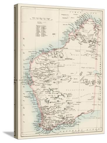 Map of Western Australia, 1870s--Stretched Canvas Print