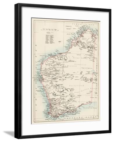 Map of Western Australia, 1870s--Framed Art Print