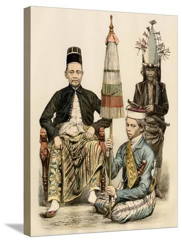 Regent of Java, His Bodyguard, and an Attendant, 1800s--Stretched Canvas Print