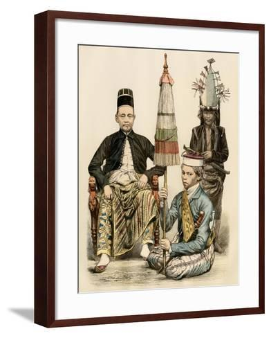 Regent of Java, His Bodyguard, and an Attendant, 1800s--Framed Art Print