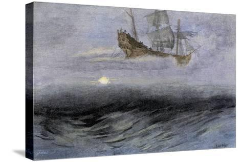 """The Legendary """"Flying Dutchman,"""" a Phantom Ship Feared by Sailors--Stretched Canvas Print"""