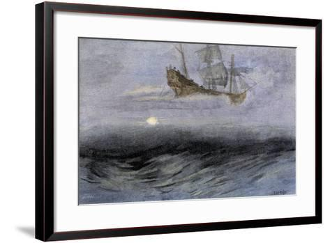 """The Legendary """"Flying Dutchman,"""" a Phantom Ship Feared by Sailors--Framed Art Print"""