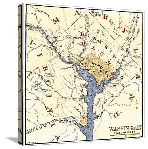 Map of the Washington DC Vicinity at the Outset of the Civil War--Stretched Canvas Print