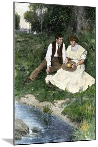 Young Couple Seated by a Brook, Early 1900s--Mounted Giclee Print