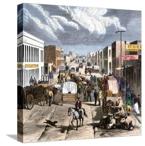 Busy Downtown Denver, Colorado, Late 1870s--Stretched Canvas Print