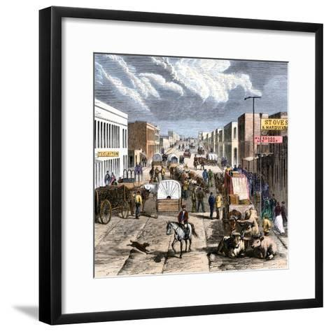 Busy Downtown Denver, Colorado, Late 1870s--Framed Art Print