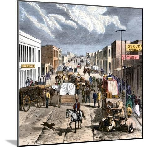 Busy Downtown Denver, Colorado, Late 1870s--Mounted Giclee Print