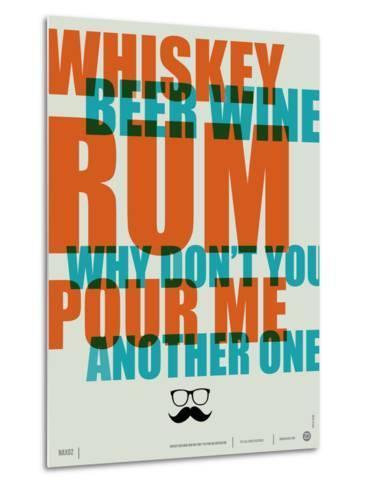 Whiskey, Beer and Wine Poster-NaxArt-Metal Print