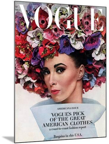 Vogue - February 1964 - Hat In Bloom-Bert Stern-Mounted Premium Photographic Print