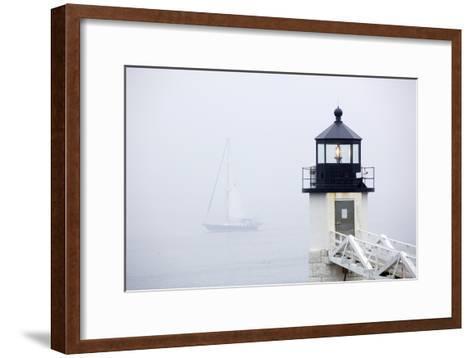 A Sailboat Passing Marshall Point Lighthouse in Port Clyde, Maine-John Burcham-Framed Art Print