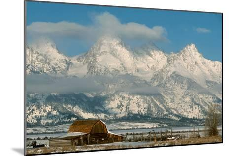 The Snow Covered Grand Tetons Rise Above the Mormon Row Barn-Ira Block-Mounted Photographic Print