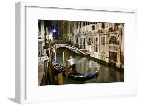 A Gondolier in a Quiet Canal At Night in Venice, Italy-Ira Block-Framed Art Print