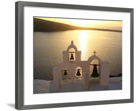 Sunset On the Aegean Sea, Behind a Set of Church Bells-Charles Kogod-Framed Art Print