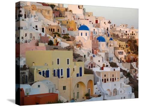 The Village of Ia, Built Into the Cliffs and Hillsides of Santorini-Charles Kogod-Stretched Canvas Print