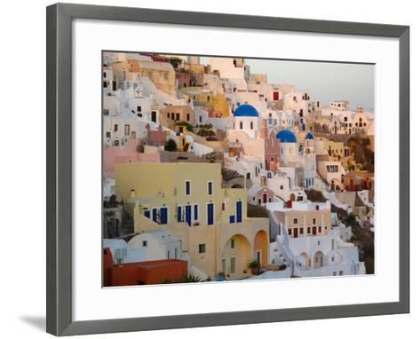 The Village of Ia, Built Into the Cliffs and Hillsides of Santorini-Charles Kogod-Framed Art Print