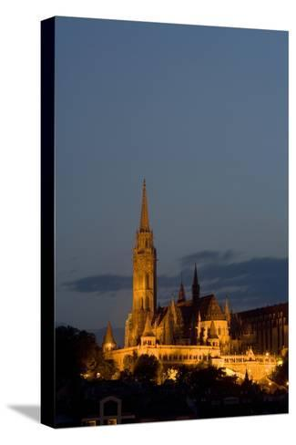 A Twilight View of Matthias Church in Buda Castle-Joe Petersburger-Stretched Canvas Print
