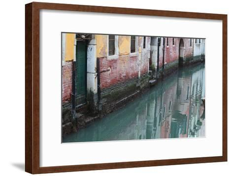Buildings and Their Reflections in Canal Water-Joe Petersburger-Framed Art Print