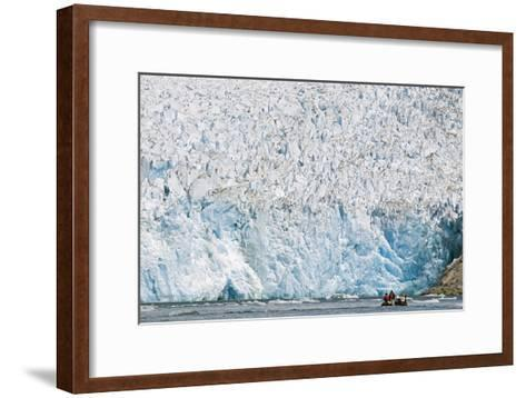 Ecotourists in a Zodiac in Front of Dawes Glacier-Rich Reid-Framed Art Print