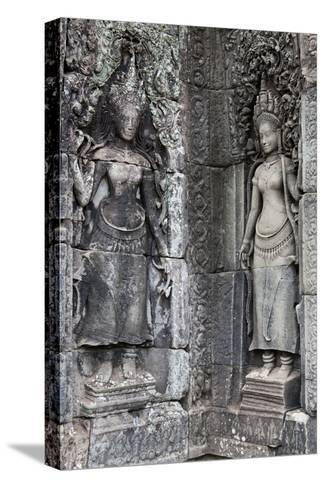 Carved Stone Statues and Relief Sculpture On Temple Walls-Kent Kobersteen-Stretched Canvas Print