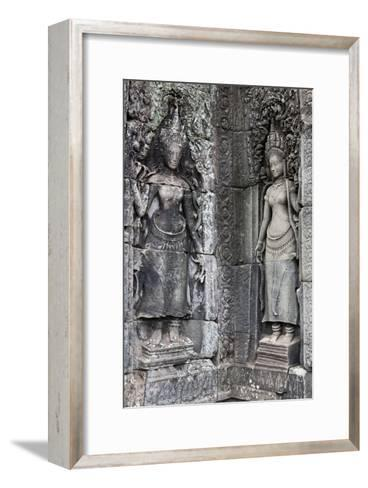 Carved Stone Statues and Relief Sculpture On Temple Walls-Kent Kobersteen-Framed Art Print