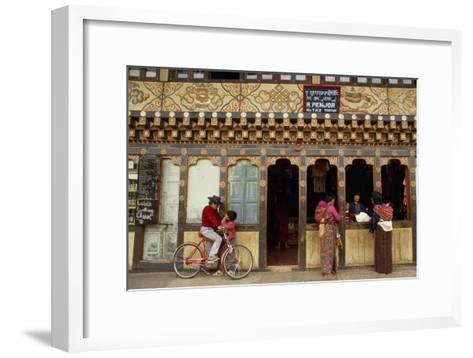 Locals At Historic Storefronts in the City Center-Paul Chesley-Framed Art Print