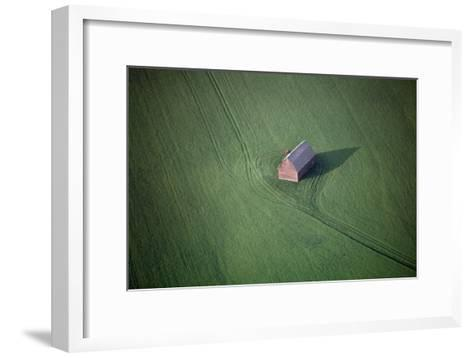 Aerial View of a Barn in the Middle of a Lush Green Field-Paul Chesley-Framed Art Print