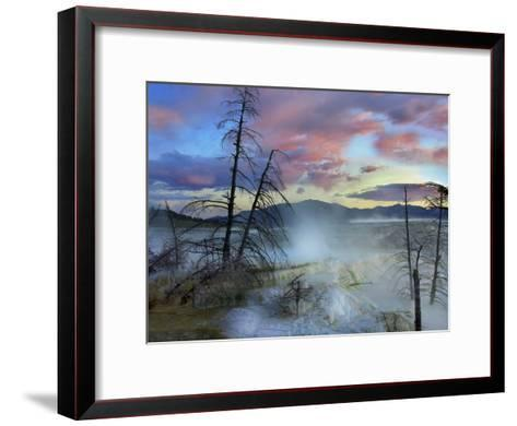 Steam Rising From Travertine Formations, Minerva Terrace, Mammoth Hot Springs, Yellowstone-Tim Fitzharris-Framed Art Print