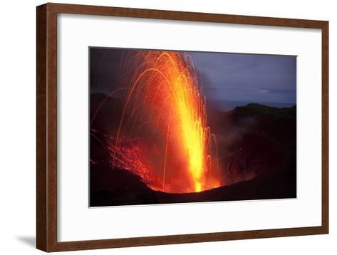 Strombolian Eruptions At Yasur Volcano At Night-Ulla Lohmann-Framed Art Print