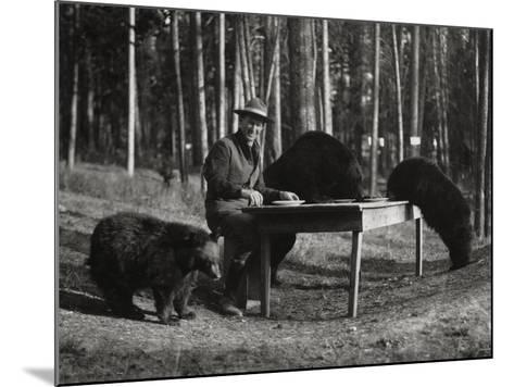 Superintendent Albright of Yellowstone Park Sits with Three Bears-U.S.National Park Service-Mounted Photographic Print