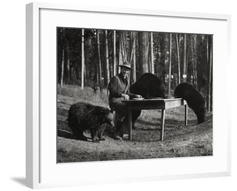 Superintendent Albright of Yellowstone Park Sits with Three Bears-U.S.National Park Service-Framed Art Print