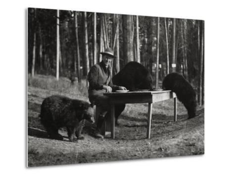 Superintendent Albright of Yellowstone Park Sits with Three Bears-U.S.National Park Service-Metal Print