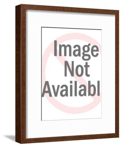 Man and Woman Pointing and Looking to Their Side-Pop Ink - CSA Images-Framed Art Print