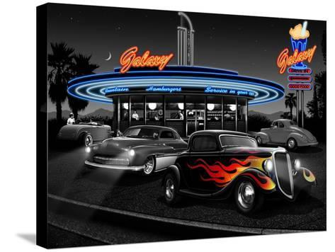 Galaxy Diner - Black and White-Helen Flint-Stretched Canvas Print