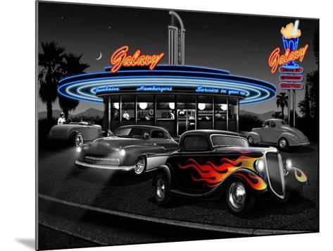 Galaxy Diner - Black and White-Helen Flint-Mounted Art Print