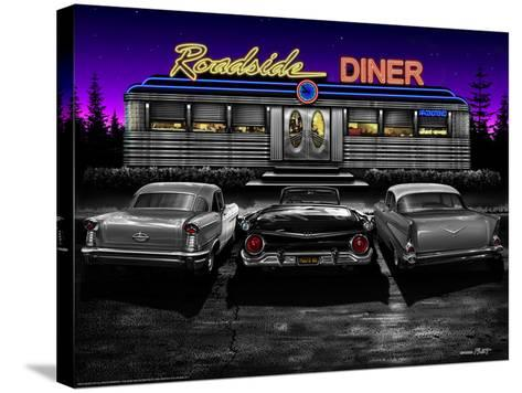 Roadside Diner - Black and White-Helen Flint-Stretched Canvas Print