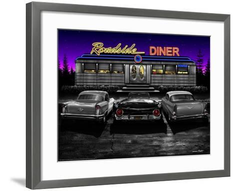 Roadside Diner - Black and White-Helen Flint-Framed Art Print