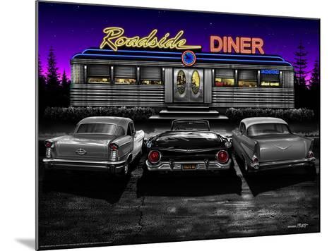 Roadside Diner - Black and White-Helen Flint-Mounted Art Print