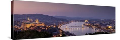 Panoramic View of Budapest and the Danube River in the Evening-Stephen Alvarez-Stretched Canvas Print