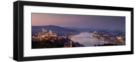 Panoramic View of Budapest and the Danube River in the Evening-Stephen Alvarez-Framed Art Print