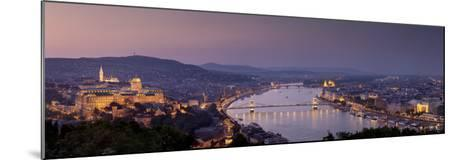 Panoramic View of Budapest and the Danube River in the Evening-Stephen Alvarez-Mounted Photographic Print