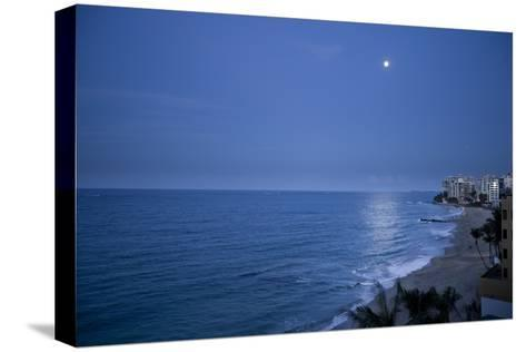 Full Moon Rise Over the Beach and Sea in Puerto Rico-Stephen Alvarez-Stretched Canvas Print