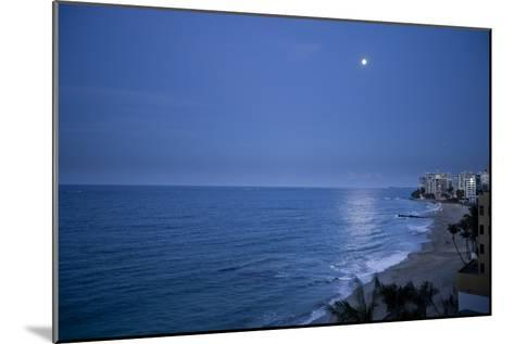 Full Moon Rise Over the Beach and Sea in Puerto Rico-Stephen Alvarez-Mounted Photographic Print