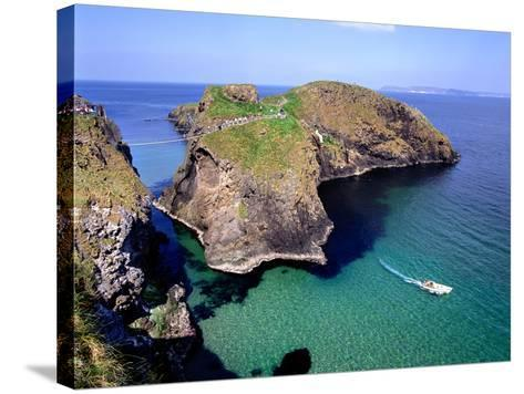 Visitors Crossing the Rope Bridge at Carrick-a-Rede in County Antrim-Chris Hill-Stretched Canvas Print