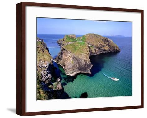 Visitors Crossing the Rope Bridge at Carrick-a-Rede in County Antrim-Chris Hill-Framed Art Print