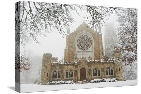 Snow-covered Trees and All Saint's Chapel in Heavy Fog-Stephen Alvarez-Stretched Canvas Print