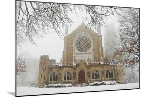 Snow-covered Trees and All Saint's Chapel in Heavy Fog-Stephen Alvarez-Mounted Photographic Print
