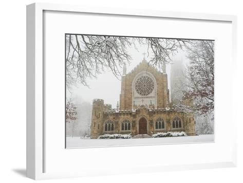 Snow-covered Trees and All Saint's Chapel in Heavy Fog-Stephen Alvarez-Framed Art Print
