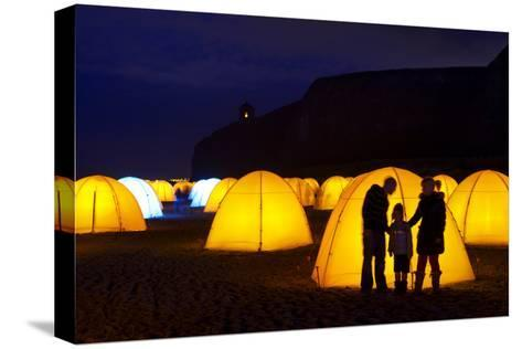 Peace Camp Art Installation by the Mussenden Temple in Derry-Chris Hill-Stretched Canvas Print
