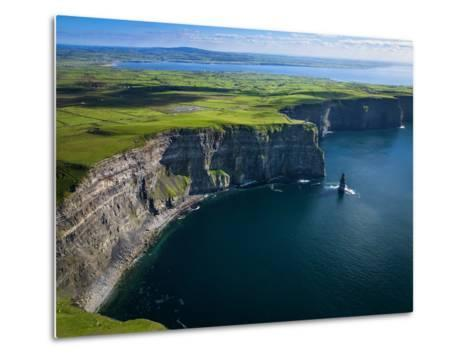 Aerial View of the Cliffs of Moher on the West Coast of Ireland-Chris Hill-Metal Print