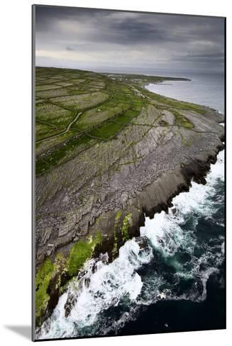 Atlantic Waves Crash Against Inishmaan's Rock Cliffs-Jim Richardson-Mounted Photographic Print